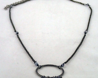 """Drops of Jupiter Necklace in Iolite - 18"""" gunmetal and iolite necklace"""