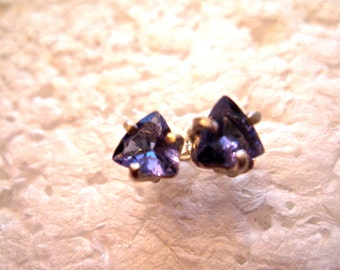 Certified Tanzanite Stud Earrings, Trillion, Natural, Set in Sterling Silver E892