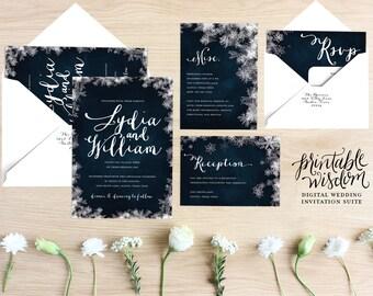Winter Wedding Invitation Suite printable wedding invite vintage style snowflake wedding invitation DIY digital invitation Printable Wisdom