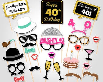 40th Birthday Party Printable Photo Booth Props - Birthday Party Photobooth Props - Digital Download Birthday Party Photo Booth Prop