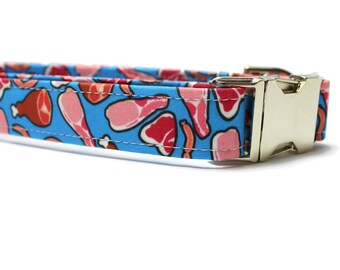Meat Dog Collar | Unique Dog Collar | Your choice of metal buckle or plastic buckle | Blue Dog Collar | Novelty Dog Collar