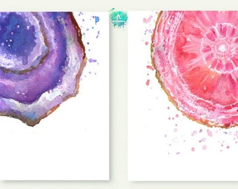 Watercolor semiprecious stones Print.Watercolor Set 2 print Amethyst & Rhodochrosite .Amethyst Print 42 x 30 .Art for Instant Download