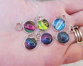 Abstract Lines Cabochon Knitting Stitch Markers (Set of 6)