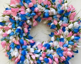 Tulip Wreath, Spring Tulip Wreath, Tulip Spring Wreath, Blue Pink Tulip Wreath, Spring Wreath, Tulips, Wreaths, Wreaths With Tulips, Spring