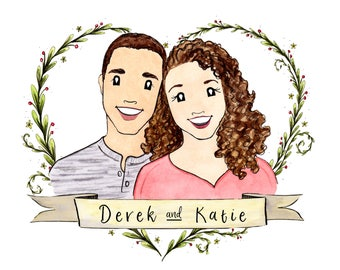 Family Portrait Custom Watercolor Portrait Gift for Her Gift for Him Anniversary Gift Family Portrait Illustration Custom Watercolor Gift
