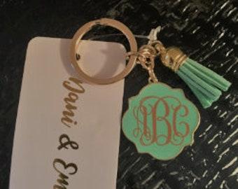 Initialed Tassel Key Chain