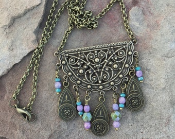 Bohemian Necklace - filigree Bib pendant with Beaded Dangles - Colorful beaded necklace, Bohemian Gypsy