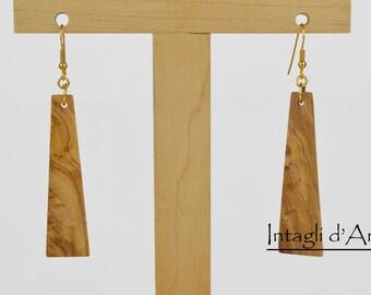 Handmade Italian Olive wood earrings, hypoallergenic