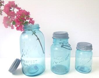 Vintage Ball Perfect Mason Jars - Blue - Zinc Lids - Half Gallon - Quart - Pint - Set M2