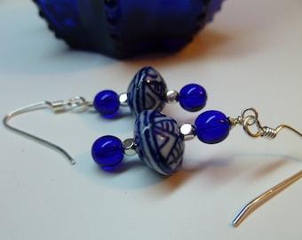 Asian Inspired Blue Ceramic Bead Sterling Silver Dangle Earrings