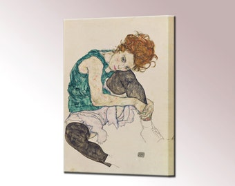 Egon Schiele Seated Woman with Bent Knee Canvas Wall Art Wall Decor Expressionism Canvas Print Ready To Hang