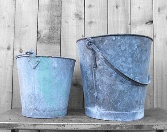 Metal Buckets Garden Planters Industrial 1960s Tub Decoration Home Kitchen Flowers Spring