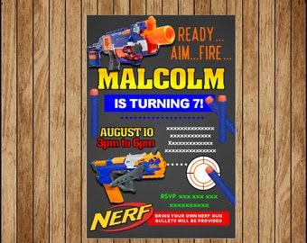 Nerf Party Invitation, Nerf Birthday Invitation, Nerf printable Invitation Digital file