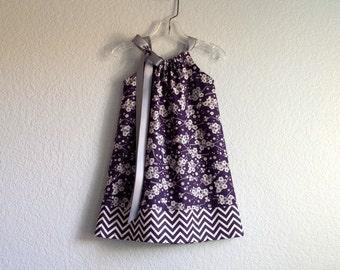 Girls Purple Pillowcase Dress - Dark Purple and Grey Floral and Chevron Stripes - Girls Sun Dress - Size 12m, 18m, 2T, 3T, 4T, 5, 6, 8, 10