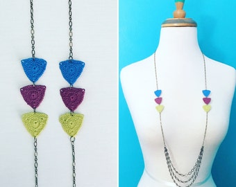 Big Bucktown Crochet Necklace in Medium Blue / Grape / Spring Green, Cotton Anniversary, 2nd Anniversary, Gift for Her, Triangles, Geometric