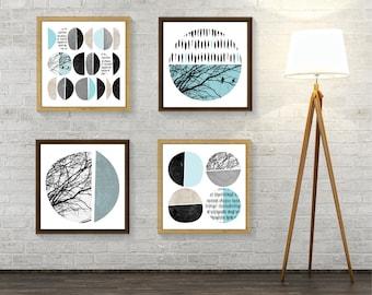Set of 4 Prints Scandinavian, Print Set, Set of prints, Scandinavian Prints, Mid Century Modern, Printable Art Set, Minimalist Poster, Art