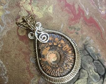 Ammonite wire weave pendant.
