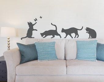Cats Wall Art Decal - Cat Wall Sticker, Cat Lover Decor, Cat Silhouette Art, Kitty Decal, Playful Cats, Animal Wall Sticker, Feline Fan