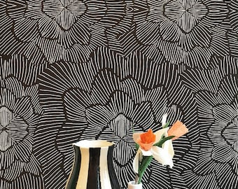 Pinstripe Floral Noir Removable Wallpaper / Assorted lengths / Perfect for Renters and owners