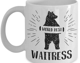 Bear Waitress. Best Gift For Waitress. Birthday Gift. Bear Waitress Mug. 11oz 15oz Coffee Mug.