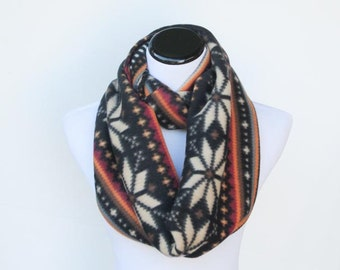 Brown fair isle infinity scarf warm winter fleece snood scandinavian scarf loop scarf - gift idea for her - gift for mom gift for girl