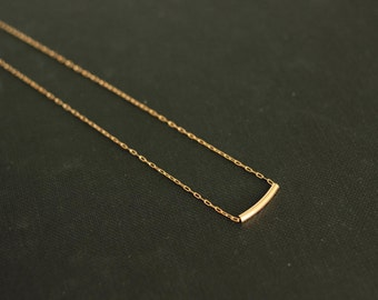 gold bar necklace on 14kt gold filled chain minimal wedding bridesmaids jewelry