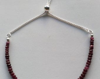 Shaded Ruby and Sterling Silver Slider Bracelet