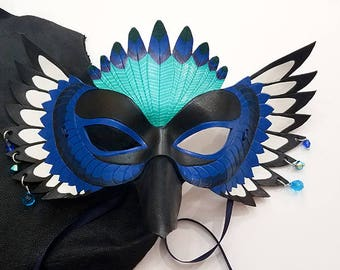 Leather Magpie Mask - Made to Order