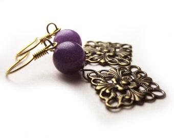 Purple Gemstone Earrings, Antique Brass Earrings, Purple Jewelry, Gifts for Her, Costume Jewelry, Handmade Earrings, Fancy Dangle Earrings