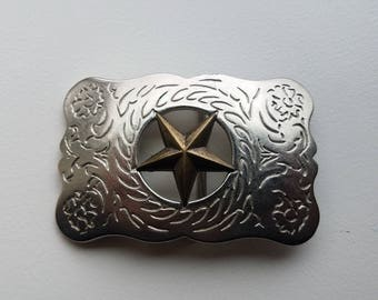 Silver Tone Western Belt Buckle With Brass Star