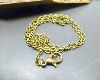 Antique Bronze Chain Brass Oval links with lobster clasp - 18.25 inches long -  Jewelry Making Findings -CH014