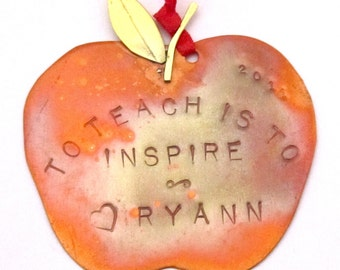 To Teach is to Inspire Personalized Apple Ornament Teacher Gift Back-to-School