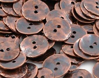 Button-16mm Cornflake-Casting-Antique Copper-Quantity 1