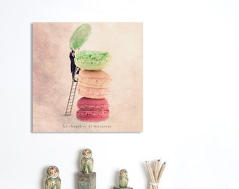 Wall Art Canvas, Photo Canvas Prints, Food photography, Paris Macarons, French Patisserie, Kitchen decor, Pastel decor, 20X20 (50x50 cm)