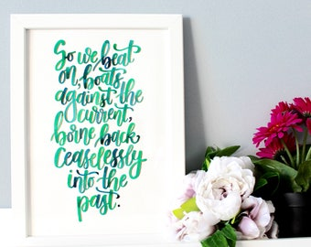 "The Great Gatsby Framed Quote, Great Gatsby Print, F.Scott Fitzgerald, Literary Quote, Literary Gifts, Gatsby Decor ""So we beat on.."""