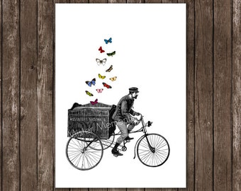 bicycle art, illustration art print, butterfly art poster 8x10 or A4