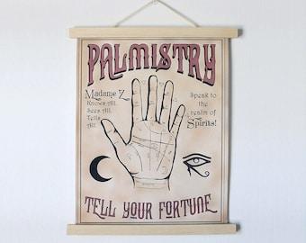 Palmistry Print - Vintage Palmistry Print Palmistry Poster Vintage Poster Palm Reader Psychic Print Fortune Teller Freak Show Print