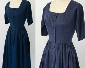 Vintage 50's Maggie Stover Raw Silk Day Dress Navy l S