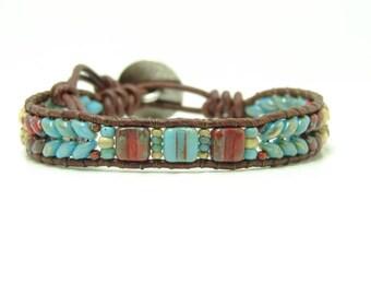 Beaded Leather Wrap Bracelet, Blue Beaded Wrap Bracelet, Southwestern Style Wrap Bracelet, Seed Bead Bracelet, Boho Jewelry