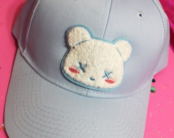 Kawaii Pastel Goth Deaddy Bear Chenille Patch Baseball Hat - Strapback Custom Hat Colors