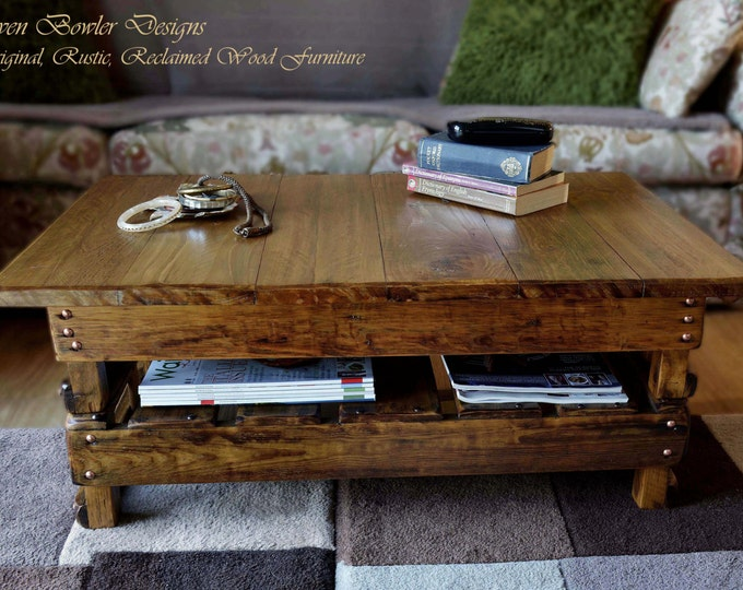 FREE UK SHIPPING Handcrafted to Order Country Cottage Rustic Reclaimed Wood Coffee Table Medium Oak Stain Copper Tacks Undershelf Storage