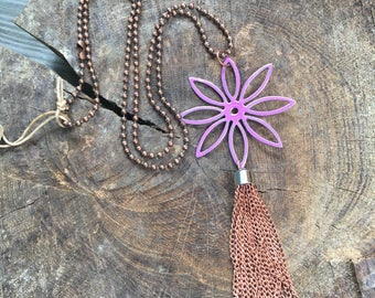 Vintage hand painted findings with copper tassel purple