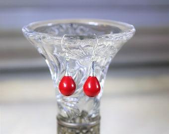 Coral earrings, drop earrings, sterling silver earrings, dangle earrings, red earrings