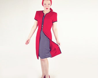 80s Red with Black & White Striped Dress with the Illusion of a Jacket M