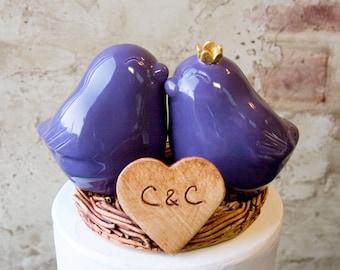 Purple Love Bird Wedding Cake Topper