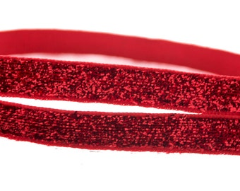 "Red Metallic Shiny Sparkles Ribbon 1/4"" Scrapbooking HairBows Parties DIY Projects RM030517"