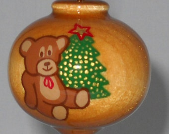 Unbreakable Christmas Ornament, Hand Painted Wooden Teddy Bear Ornament, WBO-62