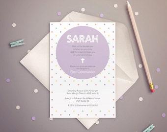 FIRST COMMUNION Invitation Girl, Polka Dots Purple. PRINTABLE.