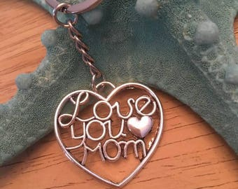 Antique Silver Love you Mom Keychain,Mom Keyring,Mom Key Fob,Big Heart Keychain,Inspirational key