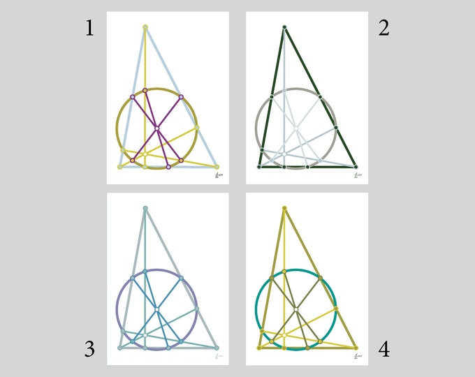 Nine-point circle (Variants 1-4) [mathematical abstract art print, unframed] A4/A3 sizes